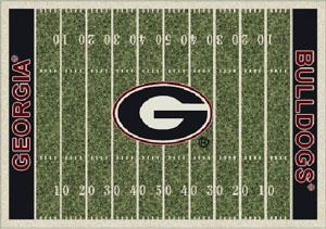 Cute area rug for a UGA home theater.