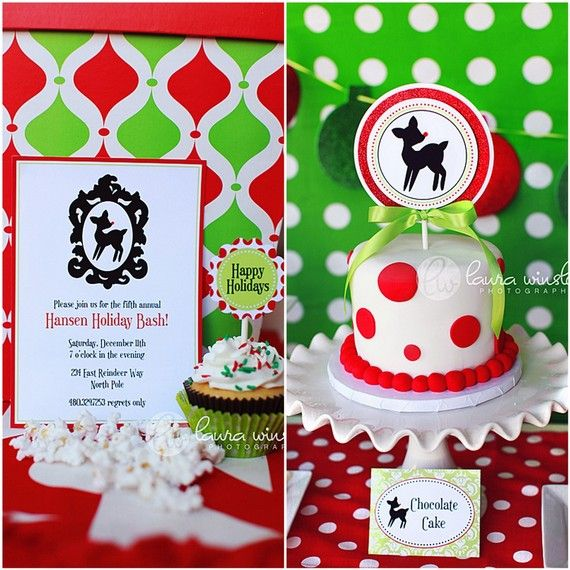 vintage rudolph printable invitation and cake topper