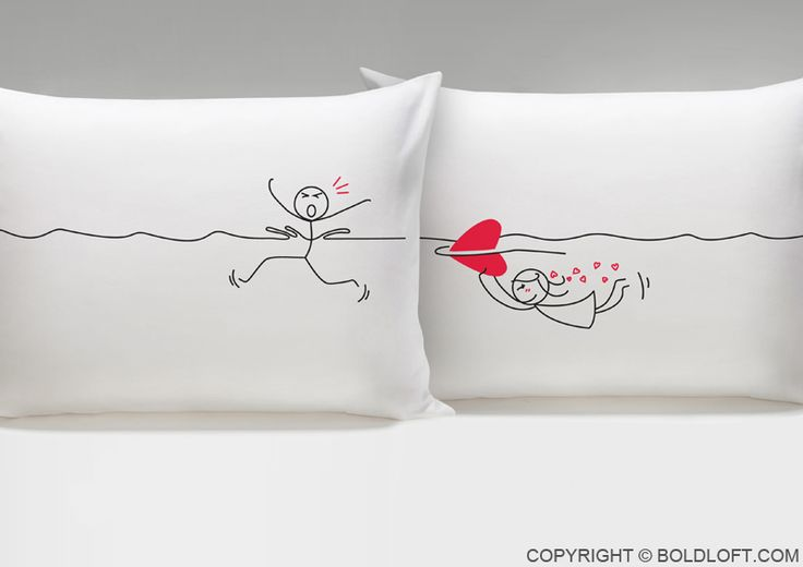 """You can't escape Love! Love always finds a way, and your true love will always find you, as shown by this pillowcase pair. They're perfect for cozy snuggles with the one you caught—or the one who caught you! BOLDLOFT®""""My Heart Is After You"""" His and Hers Couple Pillowcases. $24.99 via BoldLoft. #boldloft #lovepillowcases #lovegifts"""