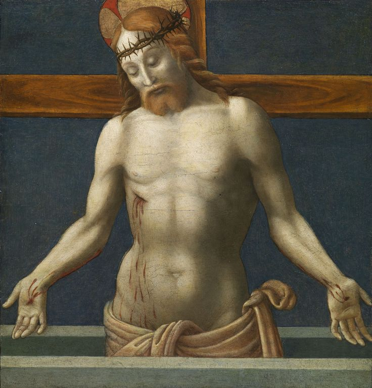 GIANNICOLA DI PAOLO,  called 'Smicca' Perugia, ca. 1460 - 1544  Christ as the Man of Sorrows  Panel, 48 x 50.5 cm