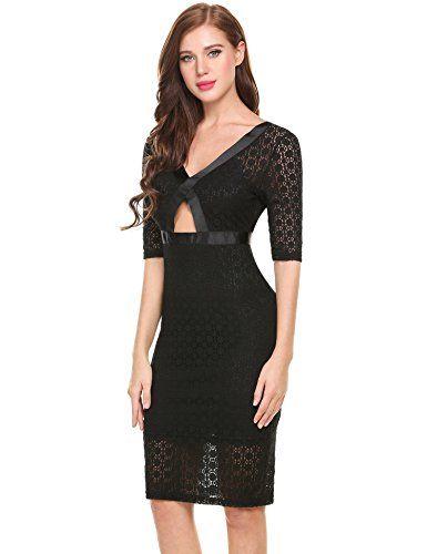 ANGVNS Damen Casual Spitzenkleider 3/4 Ärmel tiefe V-Ausschnitt Rückenfrei  PartyKleid Abendkleider: