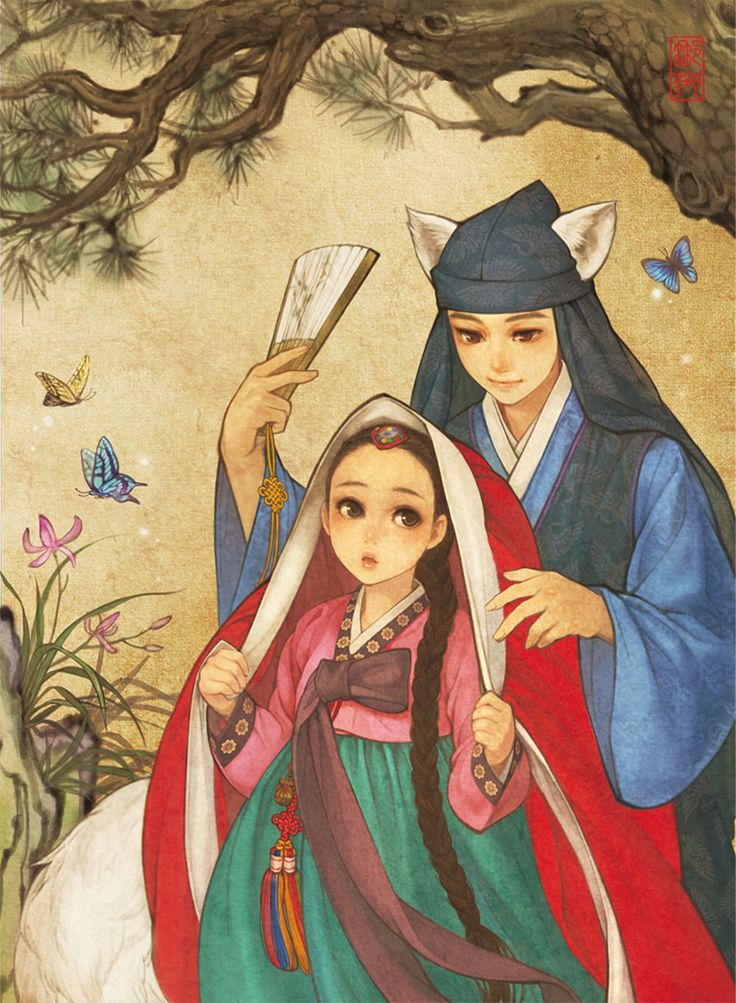 Beloved Fairytale Characters Are Re-interpreted In A Traditional Korean Style Series Of Illustrations   Art-Sheep