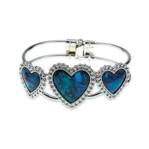 Easter Basket Girlfriend Silver and Blue Green Abalone Paua Shell Heart Crystal Bangle Cuff Bracelet
