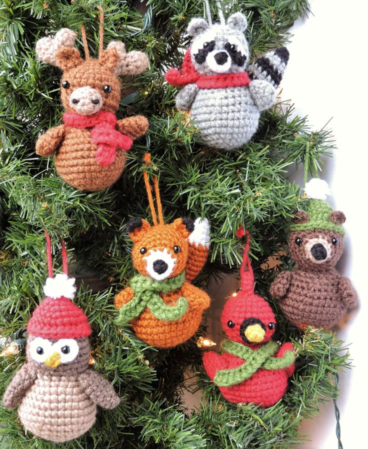 Crochet Christmas Pattern, Crochet Ornament Pattern, Woodland Animal Crochet Pattern, Crochet Fox Pattern, Crochet Bird Pattern, Moose, Owl by CrochetToPlay on Etsy https://www.etsy.com/listing/494096127/crochet-christmas-pattern-crochet