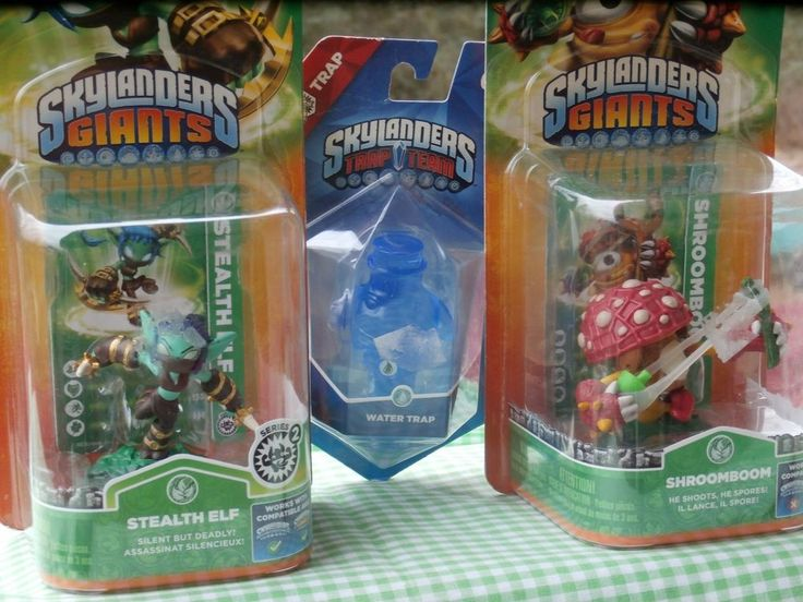 3 Skylanders Lot Giants Shroomboom Stealth Elf Trap Team Water Trap new in box #Activision