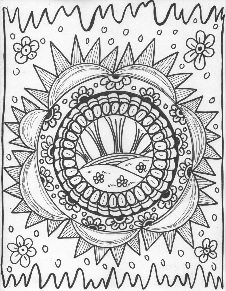 sun designs coloring book pg 1 rising sun - Coloring Pg