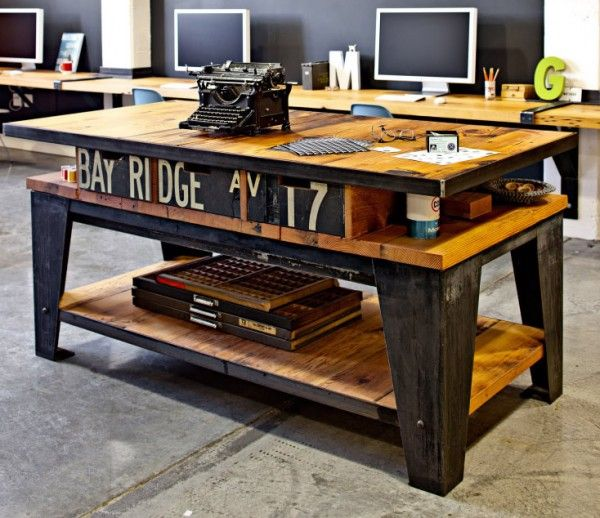A creative mix of wood and concrete furniture decorates a Portland based creative agency. I would definitely incorporate this piece in my office.