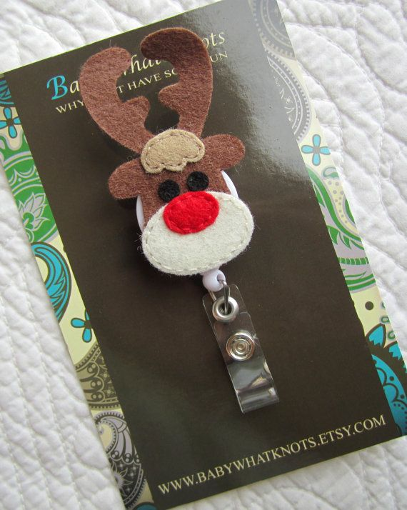 Retractable ID Badge Holder, Christmas Reindeer ID Badge Reel, Nurse, Doctor, Teacher, idholiday29