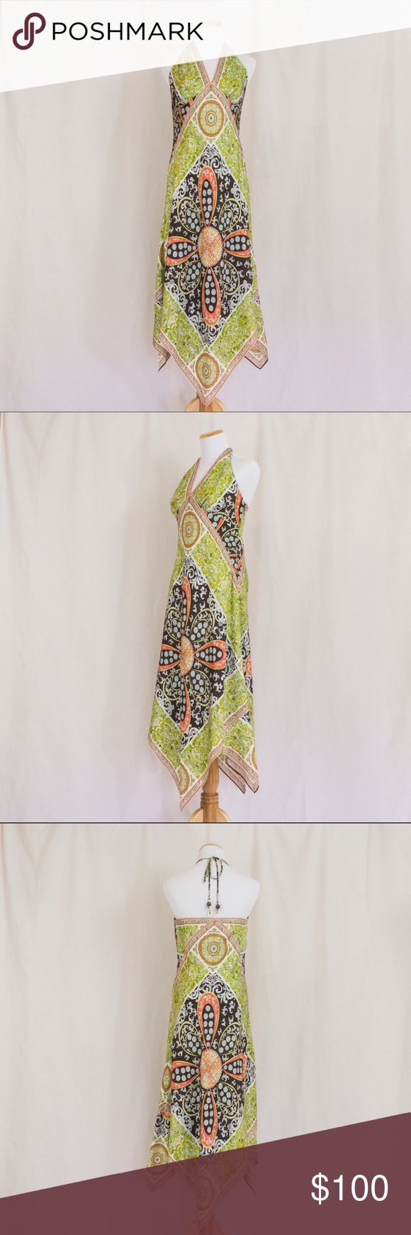 100% Silk Handkerchief Halter Dress Such a beautiful dress, and in great condition. 100% Silk with a beautiful design and handkerchief style hem line. Side zipper and tie halter neck. This dress is so lovely! Laundry by Shelli Segal Dresses Maxi