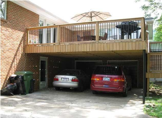 Carport with deck above in front of the garage perfect for Flat roof garage with deck plans
