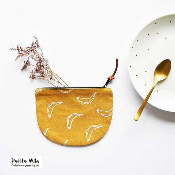Porte-monnaie tissus jaune moutarde - Boutique Etsy Petite Mila #DifferenceMakesUs @etsyfr