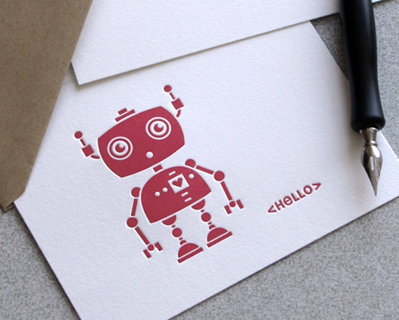 Robot Geekery Letterpress Folded Note Card Set by sweetharvey