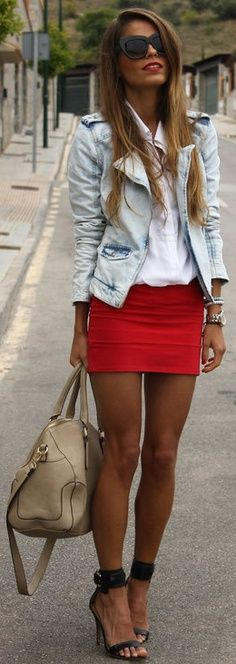 Bright pip of color tight short skirt with casual loose tank and light blue blazer or even light blue washed out denim jacket