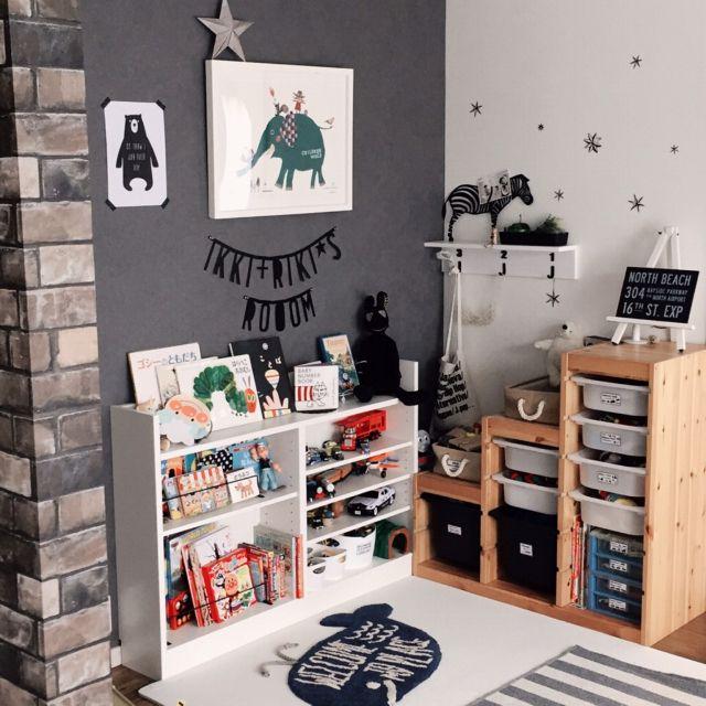 kaorii.tさんの、部屋全体,IKEA,収納,kids room,ニトリ,100均アイテム,おもちゃ収納,トロファスト,絵本棚,男の子部屋,のお部屋写真