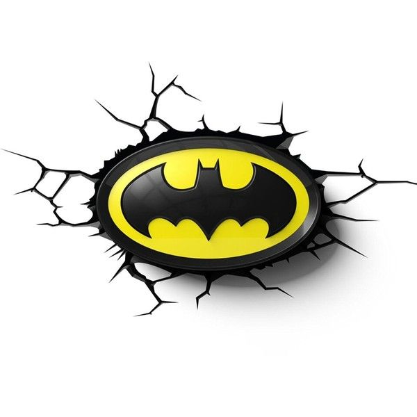 Batman Logo 3D LED Wall Light (65 NZD) ❤ liked on Polyvore featuring home, lighting, wall lights, batman night light, batman night lights and batman lamp