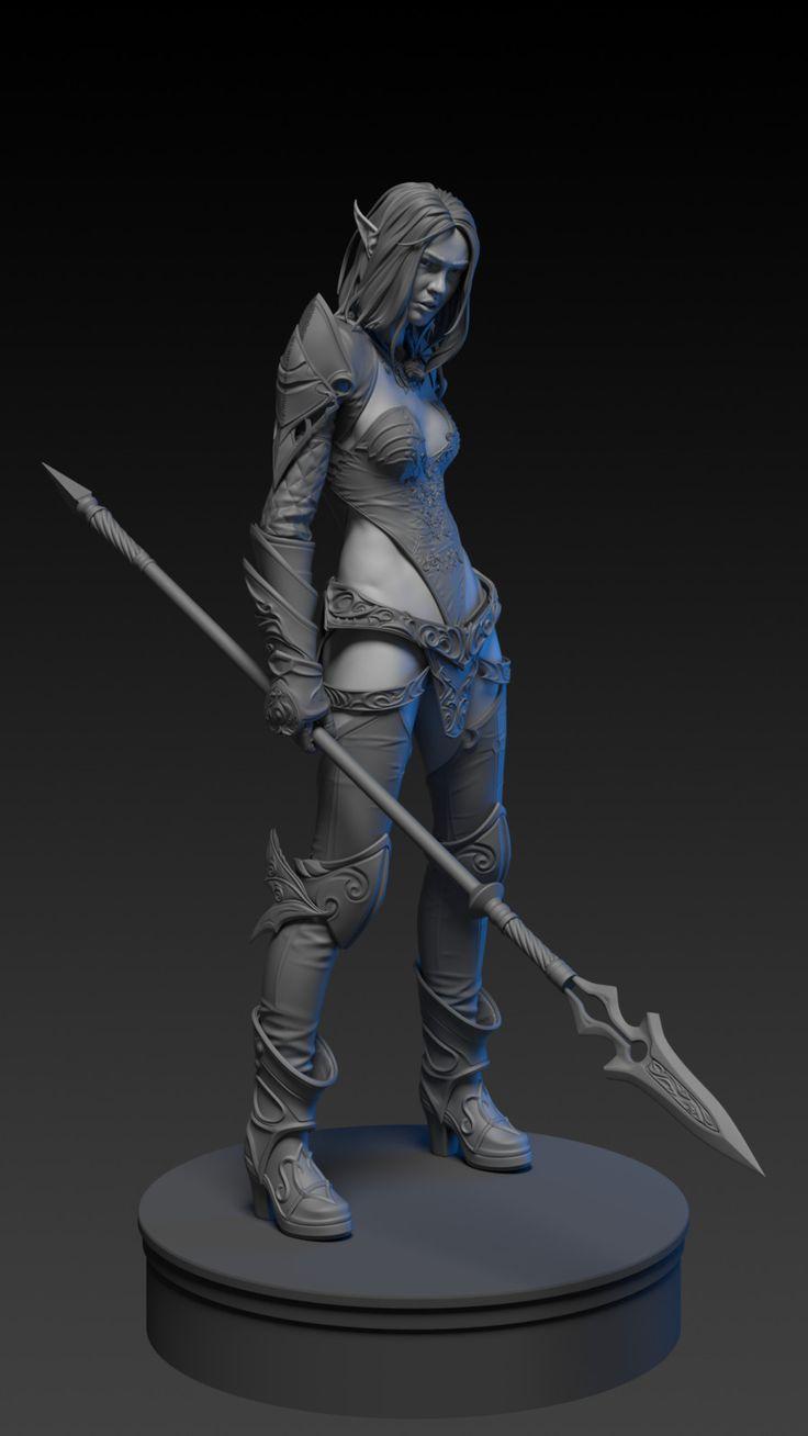 dark elf in blue wolf set (lineage 2), Alexey Zhuravlev on ArtStation at https://www.artstation.com/artwork/dgJKA