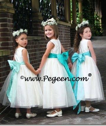 flower girls: white with aqua sash?
