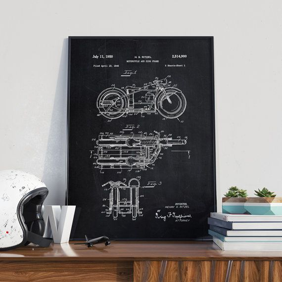 Retro Motorcycle Patent Print Motorcycle Poster Home by dalumna
