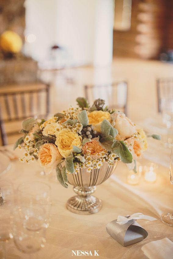 The Main Centerpieces Were In Our Gorgeous Silver Urns Filled With Garden Roses Berries Lambs Ear And Chamomile