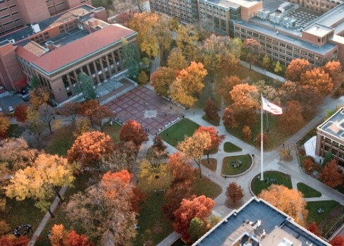 Aerial view of the University of Michigan campus ☀