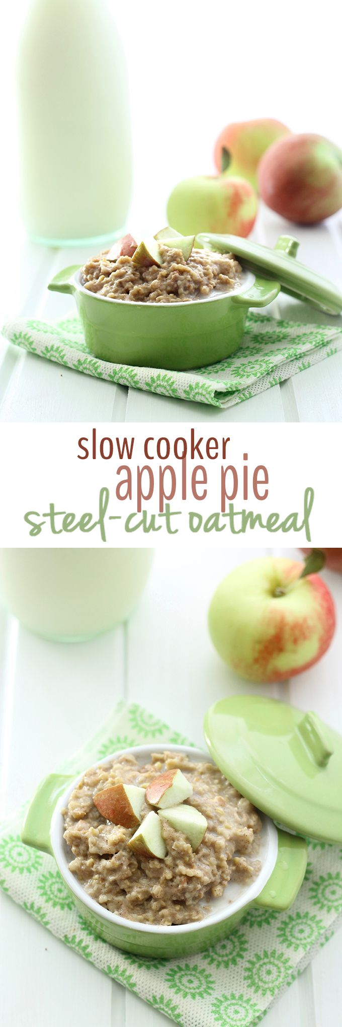 This Slow Cooker Apple Pie Steel-Cut Oatmeal makes the perfect, hands-off healthy breakfast for Fall. Just throw in the Slow Cooker and you have breakfast in the AM.