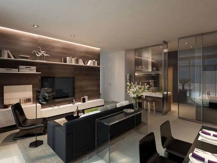 contemporary office | glass, vein cut stone wall treatment and gloss black || Grandview 360 (showflat & sales gallery) | ID