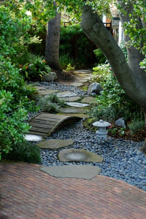 Japanese Garden.....low Curved Wood Bridge Over Dry Creek