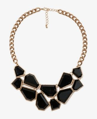 Faceted Faux Stone Bib Necklace