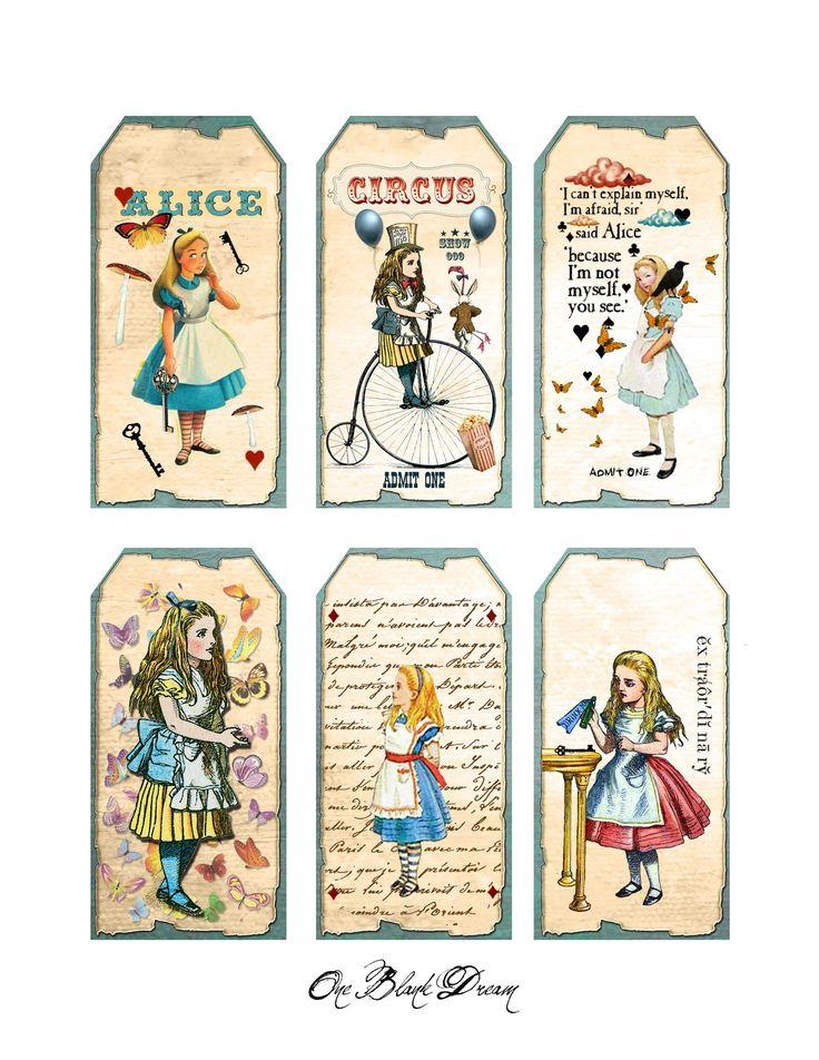 free wonderland printables | Free Alice In Wonderland Tags Digital Collage Sheet