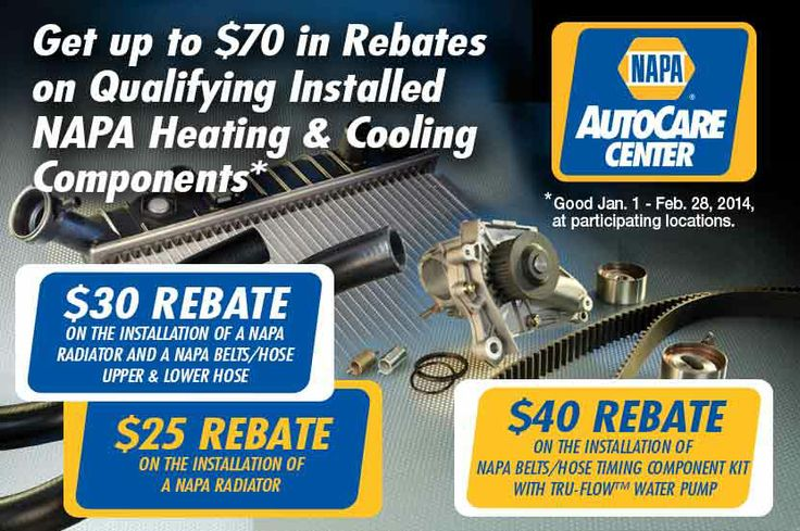cooling systems rebates for Napa Auto Care centers at