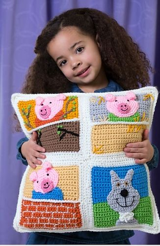 Three Little Pigs Pillow ~ free pattern ᛡ