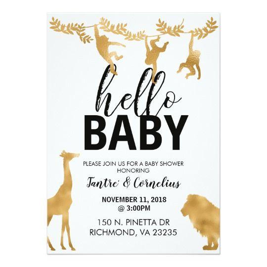 Gold Safari Baby Shower Invitation | Zazzle.com