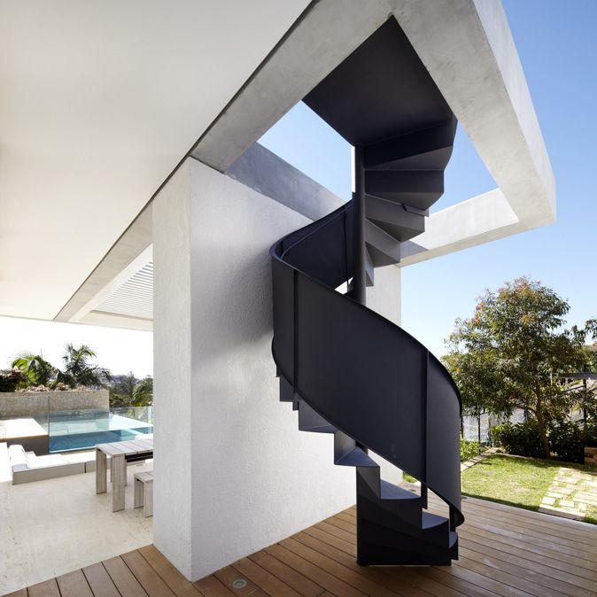 External stairs to connect first floor balcony to ground level outdoor space - option for sculptural element