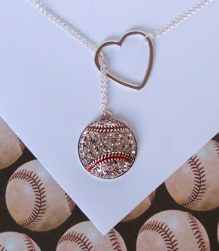 Baseball Lariat Necklace with Rhinestones and Heart, handmade jewelry. $25.00, via Etsy.