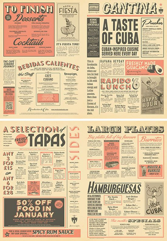 Cuban Cantina Food Menu Graphic Design for Revolution de Cuba by www.diagramdesign.co.uk