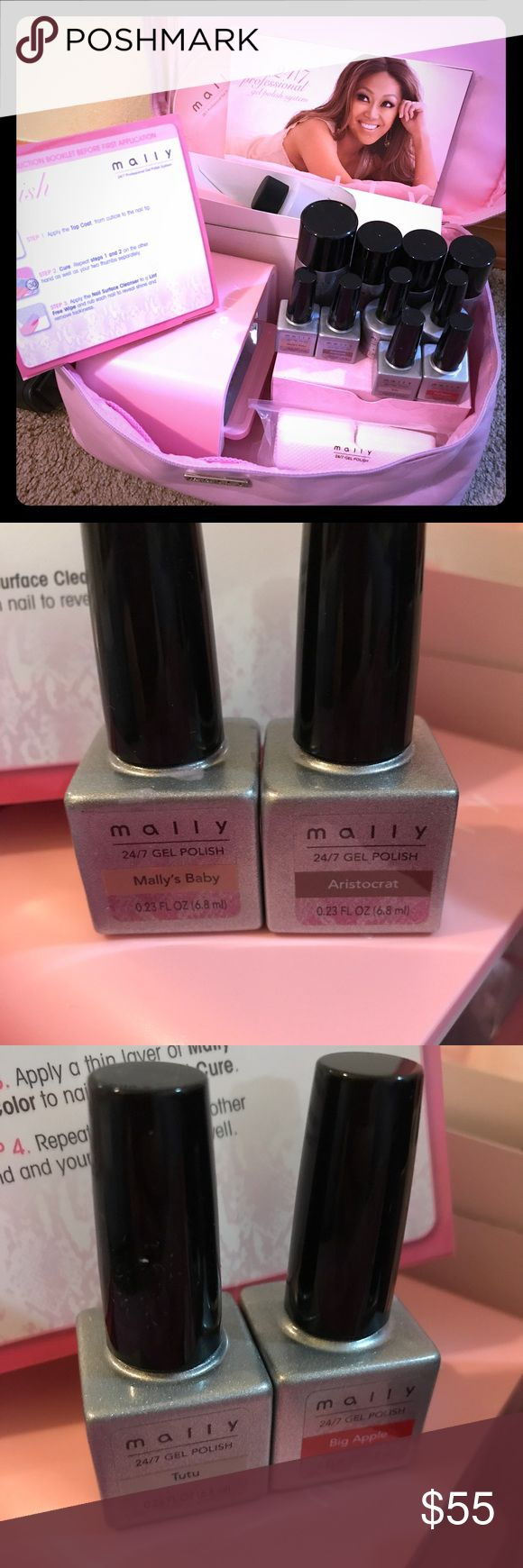 At Home Gel Nails by Mally At Home DIY Gel Nail Set by Mally You get everything shown in photo. This is an awesome set up that I've only used a few times. The colors are beautiful and last quite a while! This same set is sold out online and retails for $168 new. Have questions? Feel free to ask! Mally Accessories