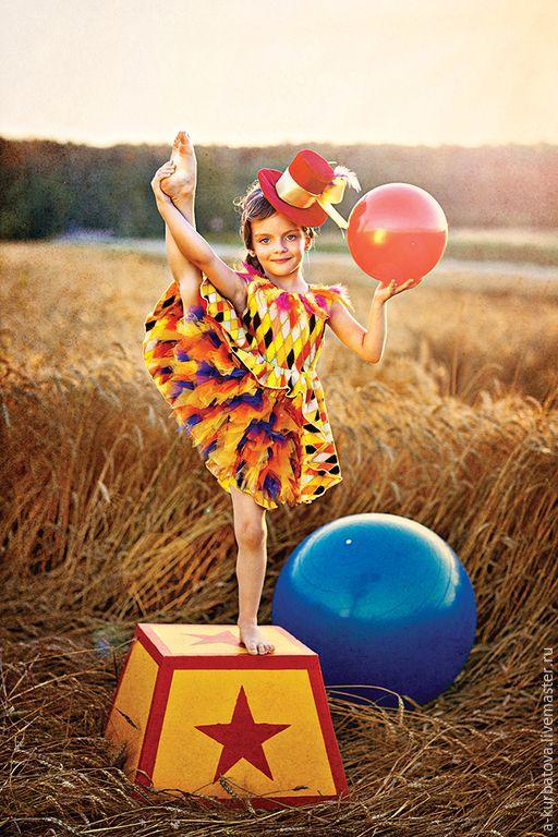 """Купить Комплект """"Акробатка"""" - разноцветный, в клеточку, акробатика, цирк, платье для девочки, платье для вечеринки, фотосессия"""