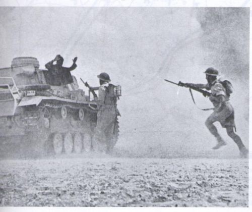 Greek troops capture an intact German tank at the Battle of El Alamein