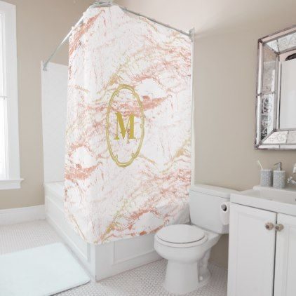 Elegant Rose Gold Marble Monogram Shower Curtain - marble gifts style stylish nature unique personalize