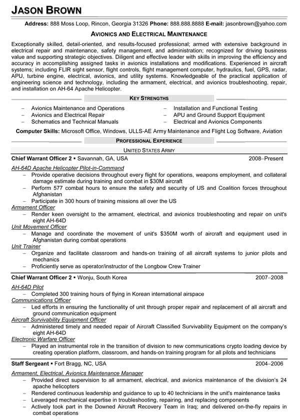 Avionics and Electrical Maintenance Resume (Sample)