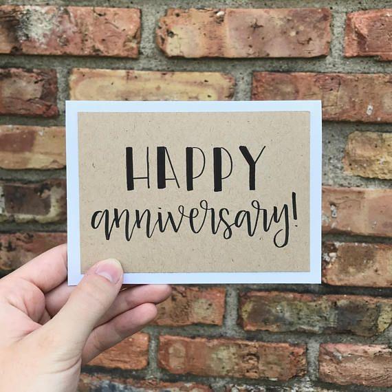 Happy Anniversary Card Handmade Rustic Calligraphy Card Single Card Anniversary Cards Handmade Work Anniversary Cards Happy Anniversary Cards