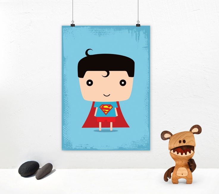 Superman art print. Superhero illustration with Superman kid. Poster design for instant download. Size A4 & A3. by GraphicCorner on Etsy