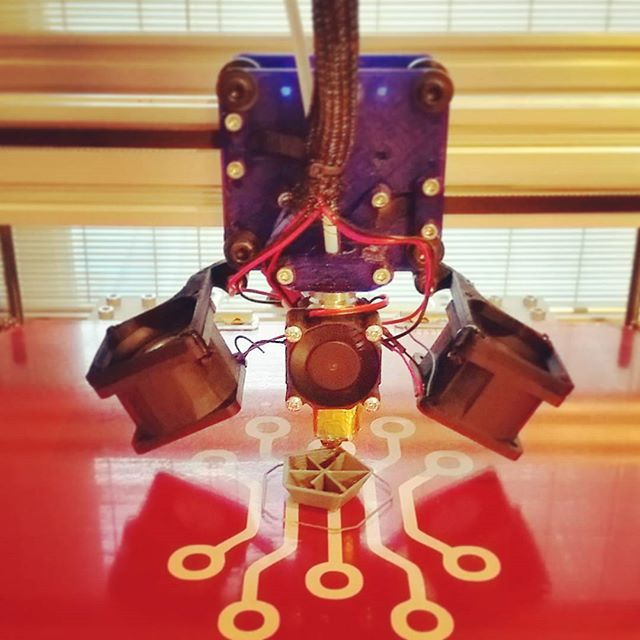 Something we liked from Instagram! Testing my new dual 24cfm fans on the 1mm #e3dvolcano hotend printing #pla.  Not much point to duct them so powerful even at 50%. They sound like little turbines.  I had to wrap the heater block in both ceramic insulation then a bunch of aluminum foil  or the fans would overpower the heater.  #3dprint #3dprinting #3dprinter #cbot #e3d #corexy by e_pavey check us out: http://bit.ly/1KyLetq