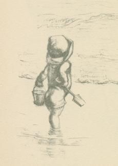 J.H. Dowd, sketch of a Child with a Bucket and Spade