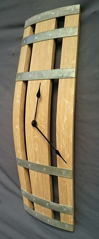 Wine barrel clock, lovely marble markings from the quarter sawn oak. Available in natural (as shown) or with black hoops and oiled or lacquered finish. £85-£95