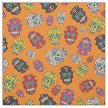 Sugar Skull Halloween Day of the Dead Print Fabric #halloween #happyhalloween #halloweenparty #halloweenmakeup #halloweencostume