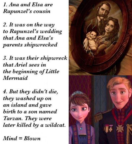 ok, so some of that would work- but tarzan takes place in the 1880's to the 1900's. and based on the technological advances shown in the movie- it doesn't match. they even have different hairstyles and clothing WAY ahead of when frozen takes place. also, jane or part of her crew bring up scientific discoveries that wouldn't make sense on the timelines...