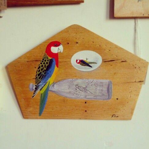 @Simon Sieradzki #artwork #painting on #shaped #wooden #panel #rosella #parrot #bird #avian #egg #bottle $60