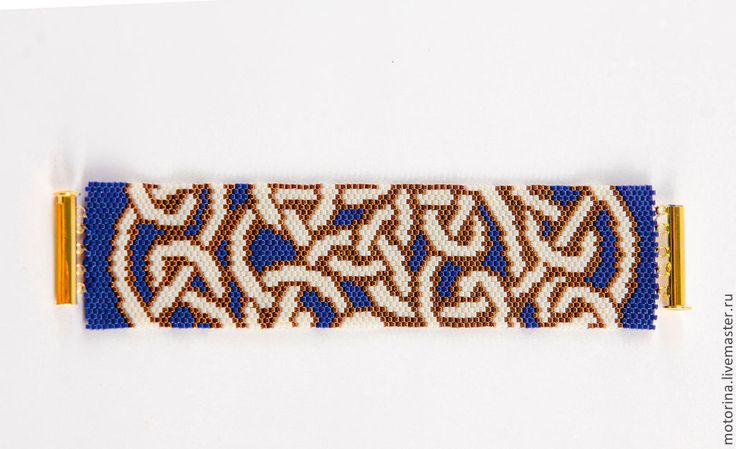 Купить Браслет из бисера Кельтский узор - синий, кельтский орнамент, бисер японский, делика миюки
