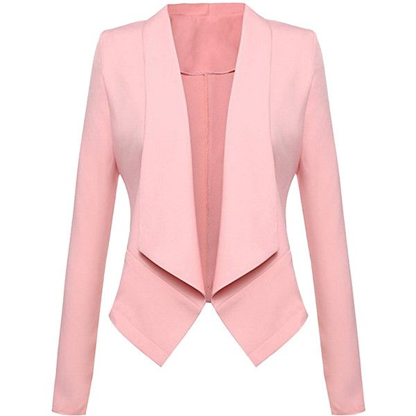 Womens Lapel Collar Long Sleeve Plain Blazer Pink ($21) ❤ liked on Polyvore featuring outerwear, jackets, blazers, pink, pink jacket, collar blazer, blazer jacket, pink blazer jacket and collar jacket